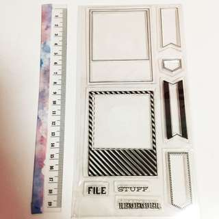 Polaroid camera frame clear stamp