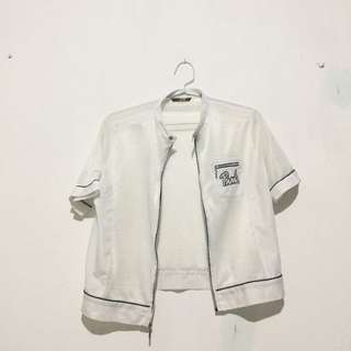 baju baseball top white