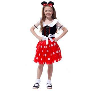 Minnie Mouse Kids Girls Party Fancy Dress with Hairband Halloween Costume 3-8y