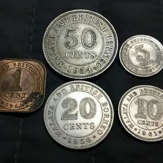 Malaya Borneo QE II 1ct to 50ct 5pcs