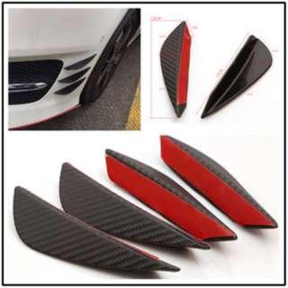 Matt Carbon / Matt Black Front Bumper Fins Lip Canards Splitter Kit