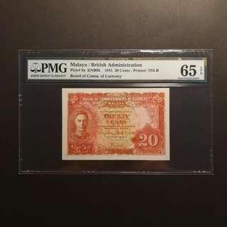 Malaya King George 20 Cents 1941 (PMG65 EPQ)