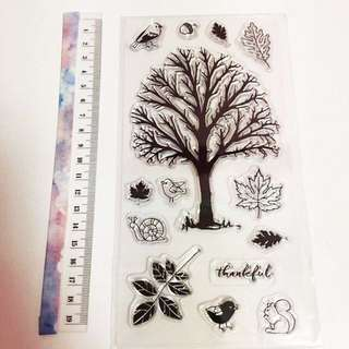 Autumn tree clear stamp