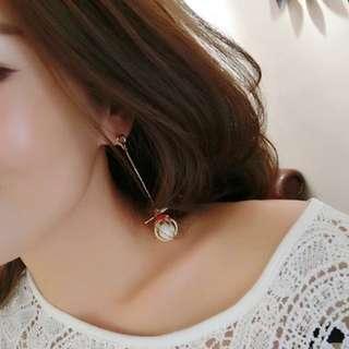 正韓 不對稱 造型耳環 925純銀耳針