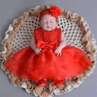 Baby Dress Lace Big Ribbon Princess Birthday Dress 3M-24M Red