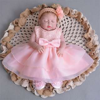 Baby Dress Lace Big Ribbon Princess Birthday Dress 3M-24M Peach