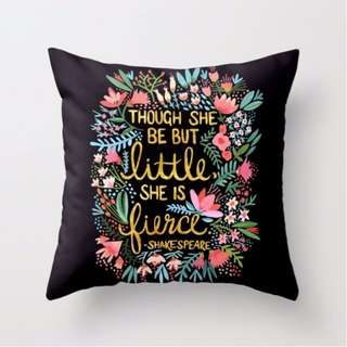 Black Little But Fierce Shakespeare Quote Throw Pillow Cover
