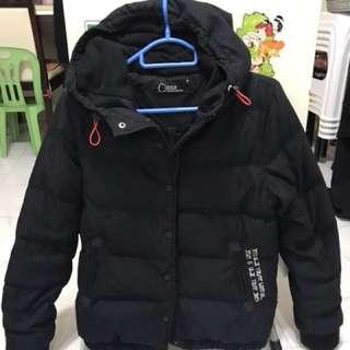 黑色棉外套