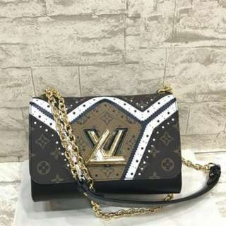 READY! LV TWIST MM REVERSE PERFORATED ORIGINAL LEATHER WITH GOLD HARDWARE CHAIN (MIRROR 1:1 WITH AUTHENTIC)