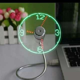 Flexible LED light clock fan