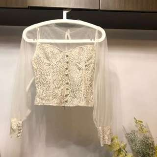 Made in Korea Nude Mesh Lace Corset Top