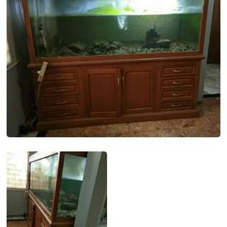 Aquarium dengan laci jati