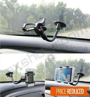Strong Suction Cup Car Phone Holder For Vehicle Windscreen. Clamp Clip With Silicon Rubber Cushion To Secure The Phone / GPS In Place.