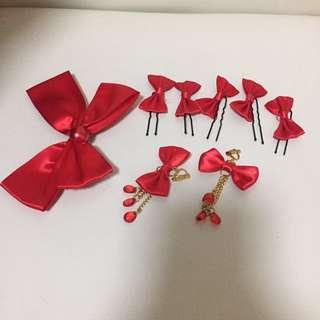 紅色蝴蝶結髮夾及耳夾套裝