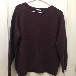 🚚 GU酒紅 針織 毛衣 上衣