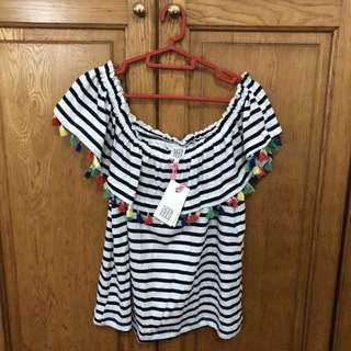 Seed stripe off shoulder rainbow tassel festival top