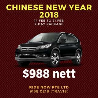 CHINESE NEW YEAR 2018 Honda CRV $988 package 14-21Feb