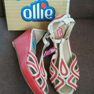 Ollie red/beige wedge size:37