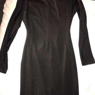 Black Long Sleeve Backless Zachary Dress