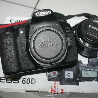 Canon eos 60d + lensa fix yn 50mm fullset