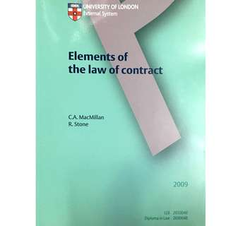 University of London - Elements of the law of contract / Criminal law / Public law (Also study pack)