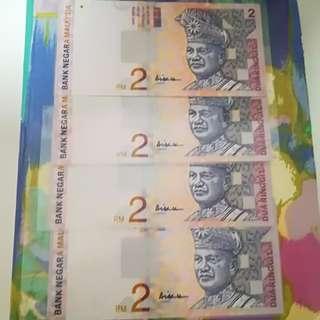 MALAYSIA RM2 10th Series x 4pcs
