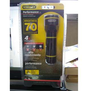 STANLEY Industrial LED Handheld Flashlight, Aluminum, Maximum Lumens Output: 70, Black