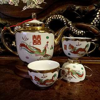 Chinese vintage Antique  dragon phoenix  wedding gold teapot teacups