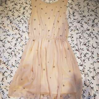 Forever 21 Beige Rhinestone Dress