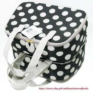 MODELLA FASHION FOREVER PROFESSIONAL TRAVELER HAND BAG #Polka dots Blk & white