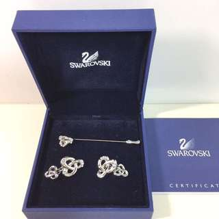Swarovski Cufflinks & Lapel Pin Set 袖口鈕+領針