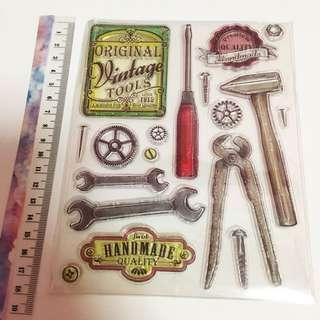 Vintage tools clear stamp