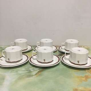 SIA Narumi Porcelain Cups with Saucers