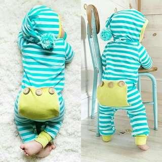 Newborn Baby Boy Girl Striped Long Sleeves Hoodies Jumpsuit .