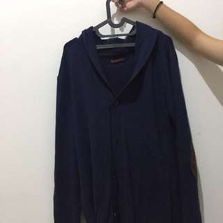 Wood cardigan navy blue suede elbow patch size L