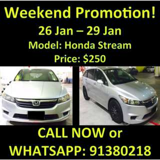 26 Jan - 29 Jan Weekend Honda Stream