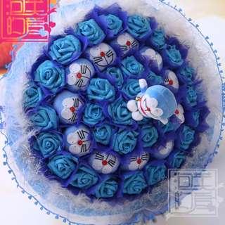 11 Lovely Blue Doraemon + 33 Blue Soap Roses