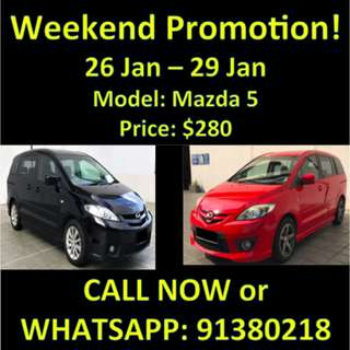 26 Jan - 29 Jan Weekend Mazda 5