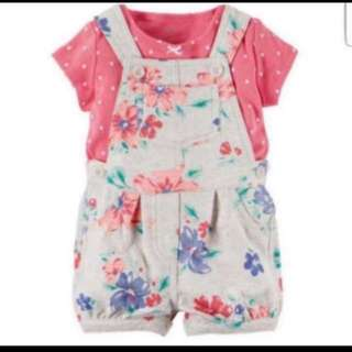*24M* BN Carter's 2-Piece Top & Shortalls Set For Baby Girl