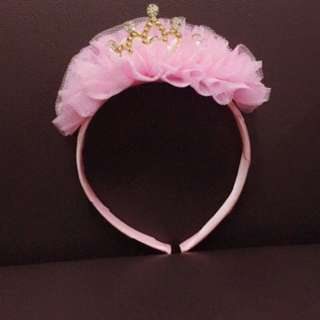 Children Crystal Lace Crown Hair Hoop Party Headwear Hairband Clasp Rose Red