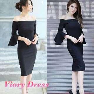 BLP. Viory Dress 51.000 Dress model sabrina dgn tangan terompet, bhn spandek import, ld 89 pjg 87cm (bwh lutut)