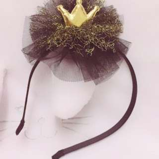 Children Girl Sequin Lace Crown Hair Hoop Party Headwear Hairband Black Gold