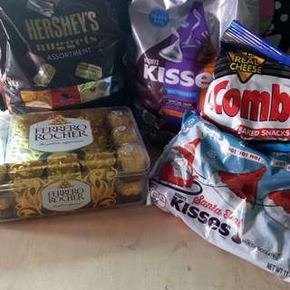 FERRERO 30's/KISSES ASSORTED/HERSHEY NUGGETS ASSORTED/COMBO CHEESE PARTY BAG/KISSES SANTA HUT EDITION