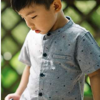 Nautical Mandarin Collar Shirt (Grey) ( 9 - 48M)