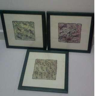 3 piece artwork for home deco - crane, horse and fish artwork