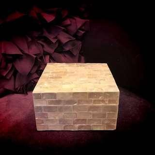 🚚 貝殼置物盒/正方型/珍珠白❤️