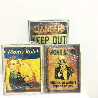 Vintage print-inspired wall plaques