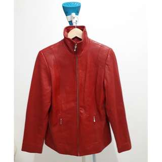 RED SOFT LAMBSKIN LEATHER JACKET