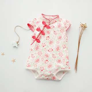 New White qipao cheongsam baby romper with pink flower
