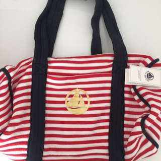 Petite Bateau red stripes shoulder bag